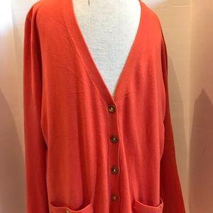 Lauren Ralph Lauren 3/4 Sleeve Orange Cardigan